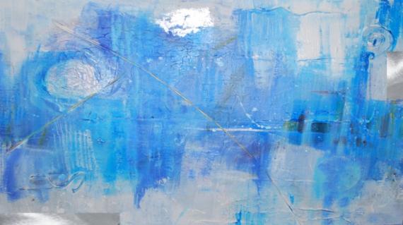 MIXTE abstrait bleu toile argent Abstrait  - Infiniment Bleu