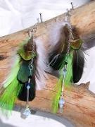 bijoux animaux opale plumes amerindien boucles : Boucles d'oreilles amérindiennes Opale et sens