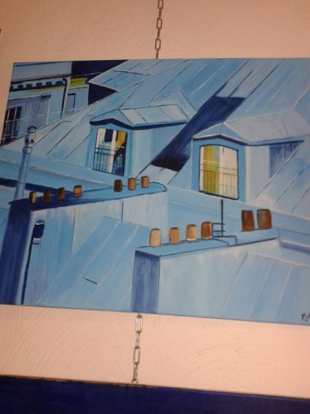 TABLEAU PEINTURE Acrylique  - les toits de pris