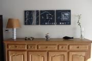 tableau abstrait gris : BELLE DE NUIT