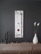 tableau abstrait taupe blanc rouge : belle de jour