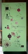 tableau abstrait vert noir fushia : FOLIE PURE