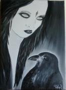 tableau personnages femme gothique corbeau contemporain : The Crow (Vendue)