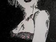 tableau abstrait femme sensuelle contemporain decollete : Regarde moi dans les yeux