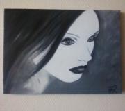 tableau personnages visage femme gothique contemporain : Black & White