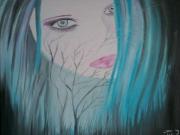 tableau personnages visage nature contemporain : Blue Forest
