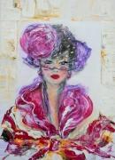 tableau personnages femme elegante busti contemporain impress art peinture deco edwige lefevre : VIOLETTA