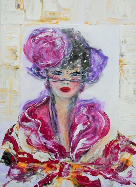 TABLEAU PEINTURE Femme élégante busti contemporain impress art peinture déco EDWIGE LEFEVRE Personnages  - VIOLETTA