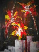 tableau fleurs fleurs abstrait fleurs contemporain tableau edwige lefevre : French cancan