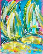 tableau marine abstrait marine regate voile contemporain moderne tableaux edwige lefevre : EVASION Nouvelle série