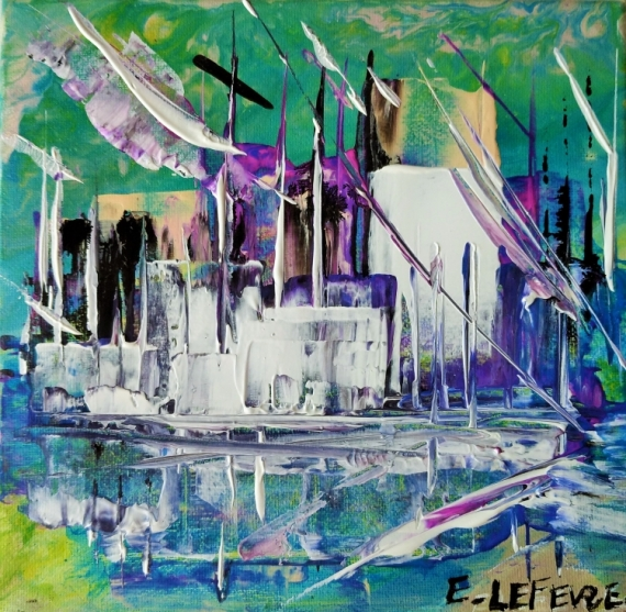 TABLEAU PEINTURE abstrait art contemp ABSTRAIT MARINE art du paysage moder art original peintur Acrylique  - Cité de la voile TABARLY Lorient