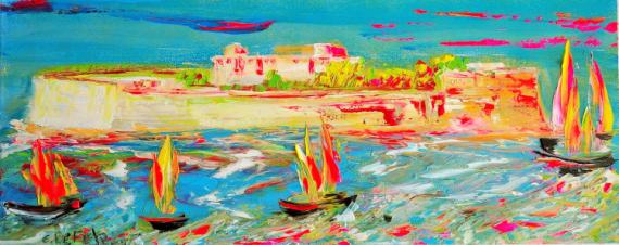 TABLEAU PEINTURE fort bloqué bretagne contemporain tableaux edwige lefevre Paysages Peinture a l'huile  - Le fort bloqué en Bretagne