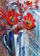 tableau fleurs abstrait peinture ar abstrait fleurs flor art du paysage moder art original peintur : Courtoisie VENDU
