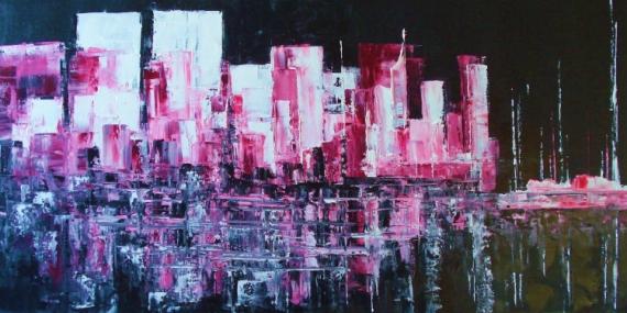 TABLEAU PEINTURE ABSTRAIT CONTEMPORAI Abstrait Peinture a l'huile  - MANHATTAN