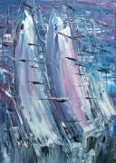 tableau abstrait marine voiles abstra contemporain nouveau fiction cosmos edwige lefevre : INVASION GALACTIQUE