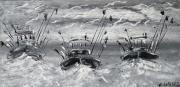 tableau marine art contemporain abstrait marine art du paysage moder art original peintur : Retour de pêche (6)