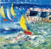 tableau marine regate marine voile abstrait marine moderne tendance lum contemporain edwige : Régate RJ