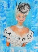 tableau personnages femme elegante busti facon domergue conte creation edwige lefe : Bella