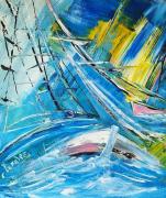 tableau marine marine regate voile edwige lefevre abstrait marine abstrait voile regate contemporain marine : Eclaircies en mer