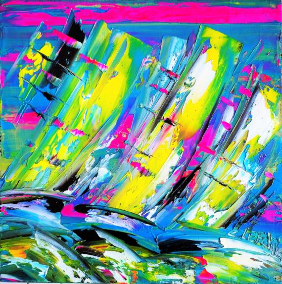 TABLEAU PEINTURE voiles marines contemporain tableau edwige lefevre Abstrait Peinture a l'huile  - Régate VJ.