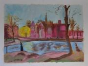 tableau scene de genre promenade ville femme huile : femme se promenant au parc