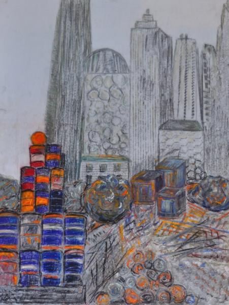 MIXTE travaux ville pastel crayon gris multicolore Architecture  - chantier à Manhattan