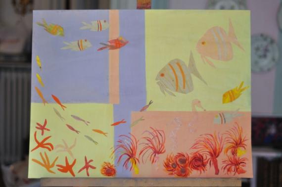 MIXTE aquarium poissons collage Marine  - collage poissons
