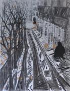 mixte scene de genre solitude ville clochard noir et orange : solitude en ville
