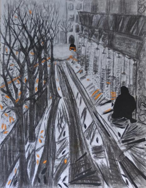 MIXTE solitude ville clochard noir et orange Scène de genre  - solitude en ville