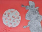 tableau animaux enfant souris ballon gris rose acrylique crayon : Souricette joue au ballon