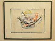 tableau marine retour de peche encadre aquarelle : assiette du pêcheur