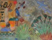dessin scene de genre egypte dieux et nature fresque pastel : l'Egypte et ses richesses