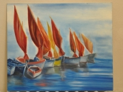 tableau marine marine bateau colore huile : les bateaux