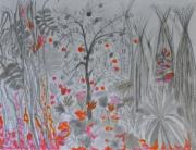 tableau paysages foret imaginaire gris rose orange crayon acrylique : la forêt imaginaire