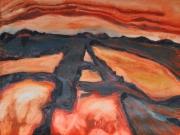 tableau marine maraissalants rouge huile : coucher de soleil dans les marais-salants