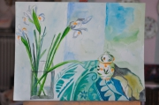 tableau nature morte nature morte fleurs aquarelle bleuvert : nature morte aux iris