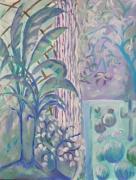 tableau fleurs serre plantes tropicales bleusviolets acrilyque : après-midi à la serre du jardin des plantes
