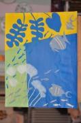 tableau marine poisson aquarium jaune vert bleu collage matisse : collage poisson Matisse