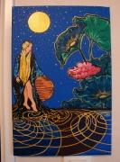 tableau autres lune femme nenuphar eau : Midnight Lune Femme