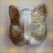 artisanat dart animaux masque venitien chat : Masque vénitien or et argent