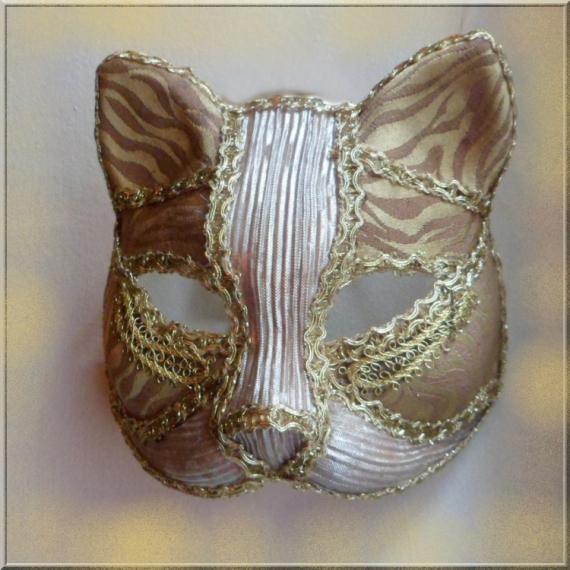 ARTISANAT D'ART masque vénitien chat Animaux  - Masque vénitien or et argent