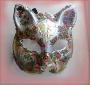 artisanat dart animaux art animalier masque venitien chat : masque vénitien (fleurs et feuilles)