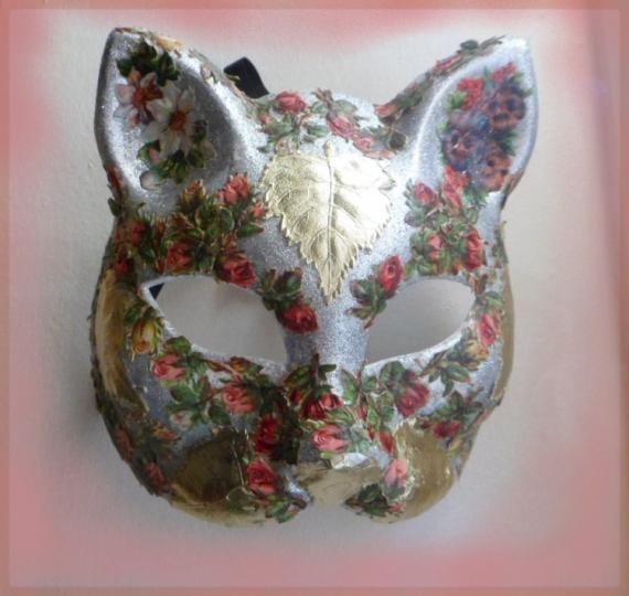 ARTISANAT D'ART art animalier masque venitien chat Animaux  - masque vénitien (fleurs et feuilles)