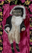 tableau animaux marionnette chat botte venise fait main : marionnette de chat en costume vénitien