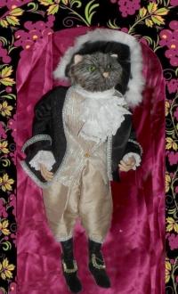 marionnette de chat en costume vénitien