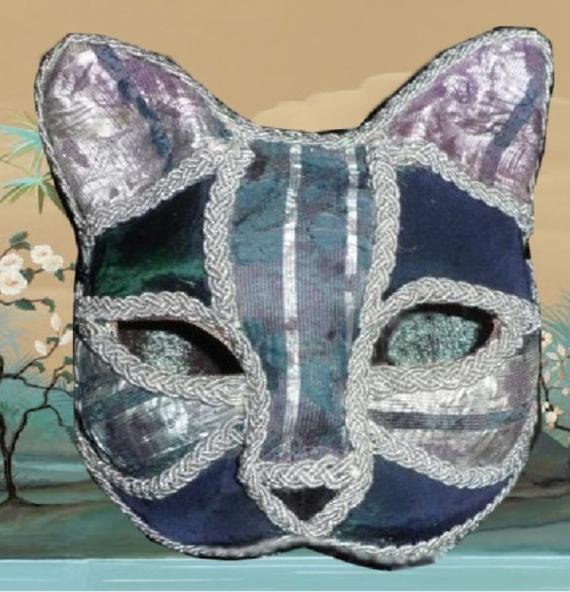 ARTISANAT D'ART art animalier masque venitien chat fait main Animaux  - masque vénitien argenté et vert