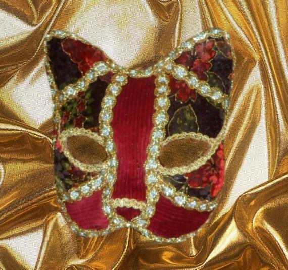 ARTISANAT D'ART art animalier masque venitien chat fait main Animaux  - masque vénitien de chat (rouge et vert)