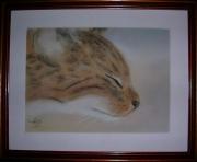tableau animaux art animalier chat pastel : Petit fauve