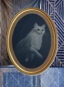 tableau animaux portrait de chat chat blanc pastel sec : L'attente