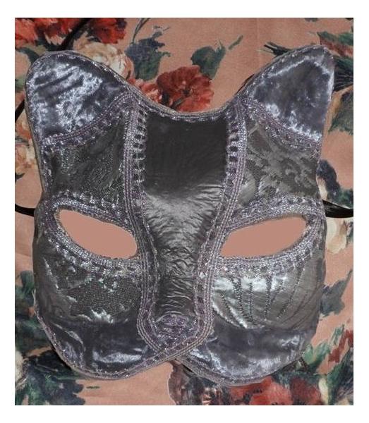 ARTISANAT D'ART art animalier masque venitien fait main chat Animaux  - masque vénitien de chat argenté